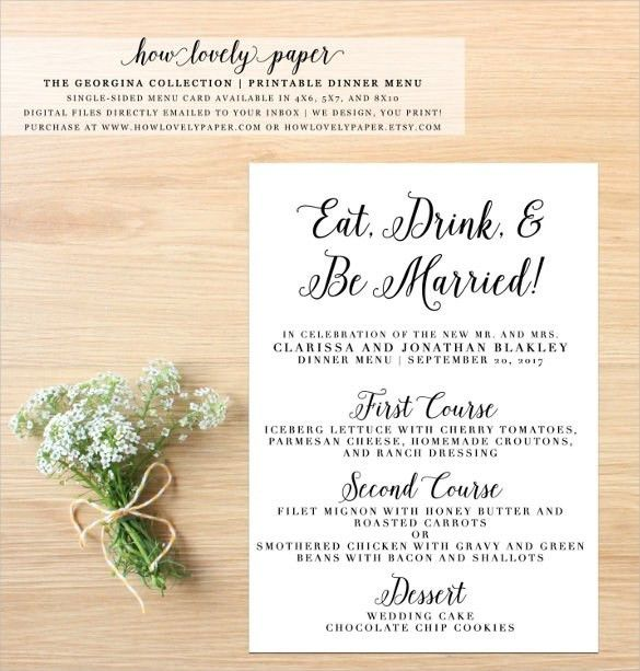 Dinner Party Menu Template | Template Business