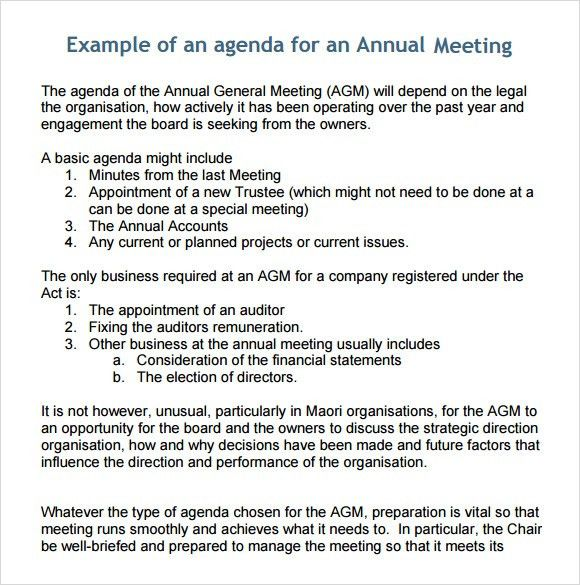 Business Meeting Agenda Template - 5+ Download Free Documents in ...
