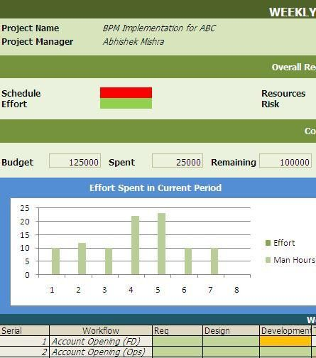 Weekly BPM Project Status Reporting Template - Free Download