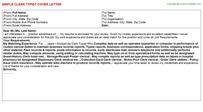 Clerk Typist Cover Letter