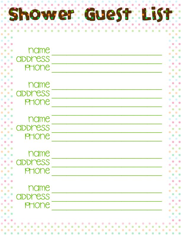 baby shower guest list template | Baby Shower Ideas Gallery