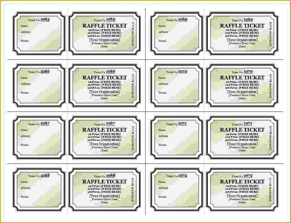 Raffle Sheet Template. Free Printable Raffle Ticket Template ...