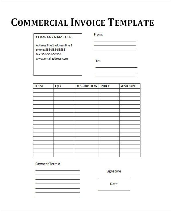 Commercial Invoice Template Word | invoice example