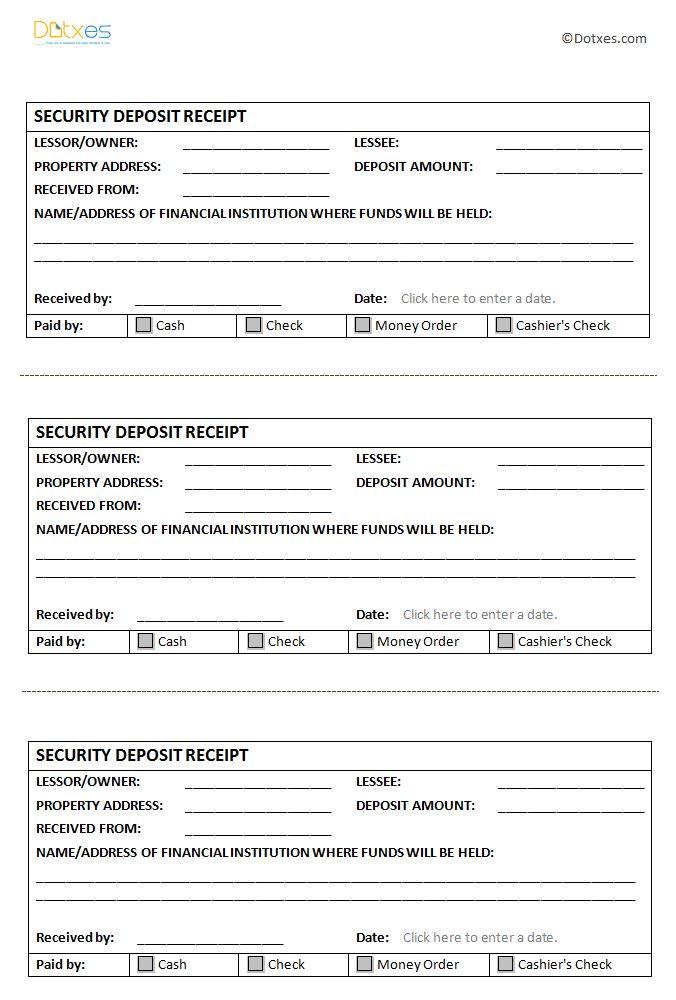 Security Deposit Receipt Template - Dotxes