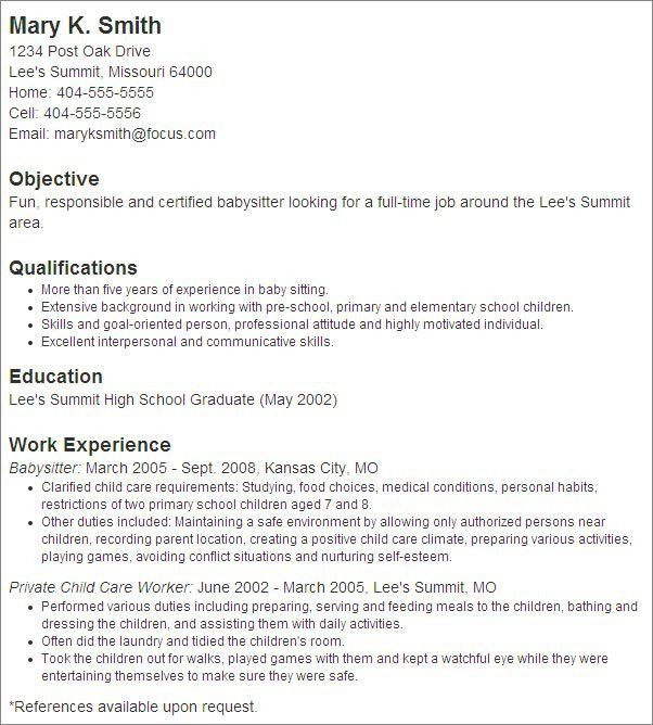 sample cover letter for babysitting job resume cv cover letter ...