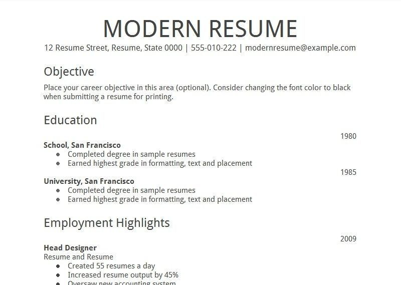 resume template google