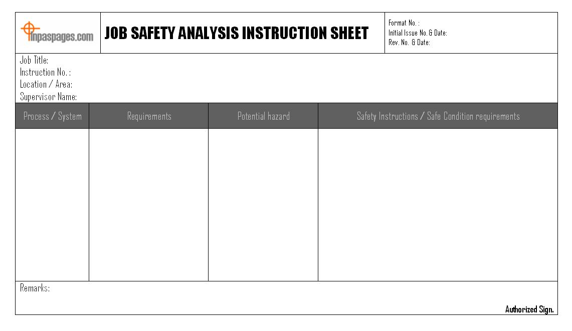 Job Safety Analysis Instruction Sheet Format