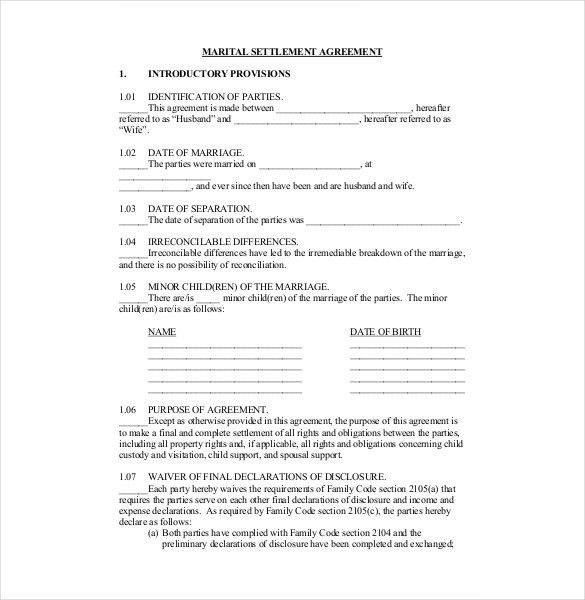 Divorce Settlement Agreement Template | Template Business