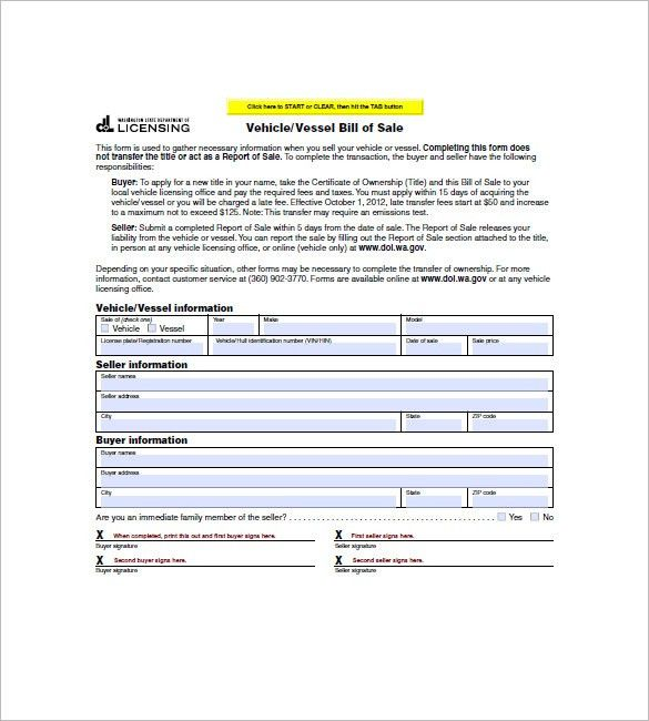 Vehicle Bill of Sale – 10+ Free Word, Excel, PDF Format Download ...