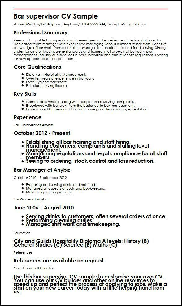 Bar Supervisor CV Sample | MyperfectCV