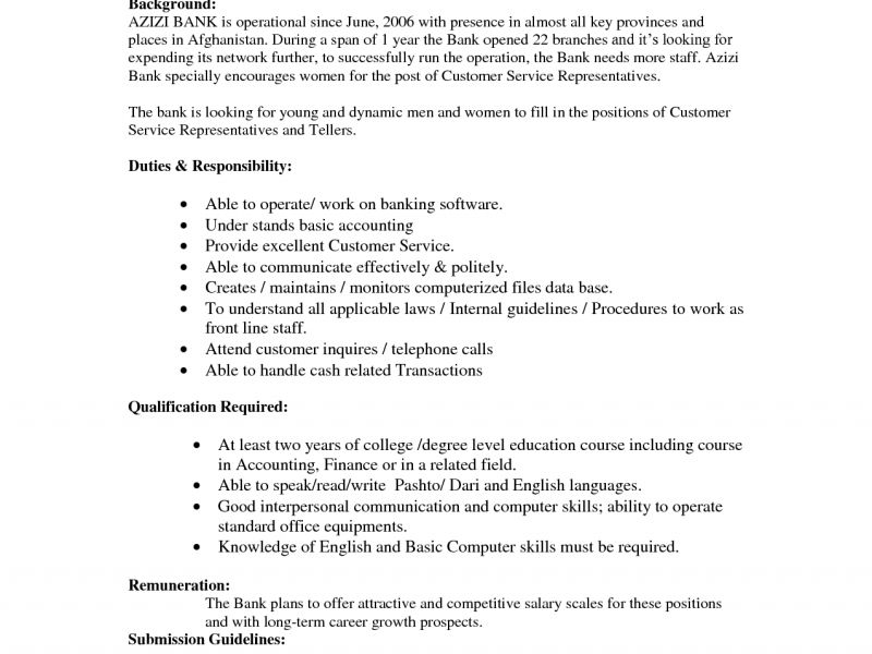 Download Bank Teller Resume Skills | haadyaooverbayresort.com