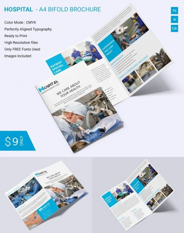 Beautiful Hospital A4 Bi Fold Brochure Template Download | Free ...