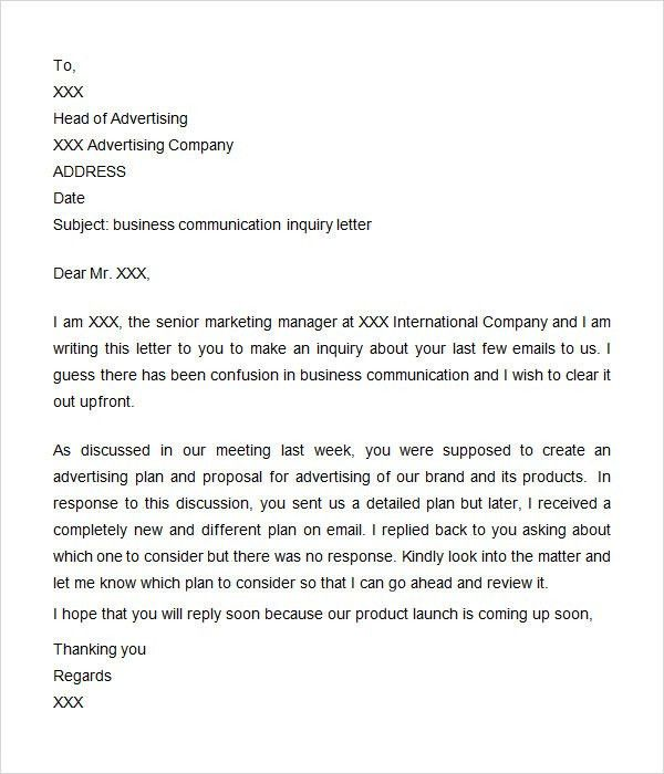 Sample Of Letter Of Inquiry In Business Business Letter Inquiry