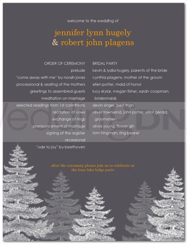 7 Best Images of One Page Wedding Program Wording - One Page ...