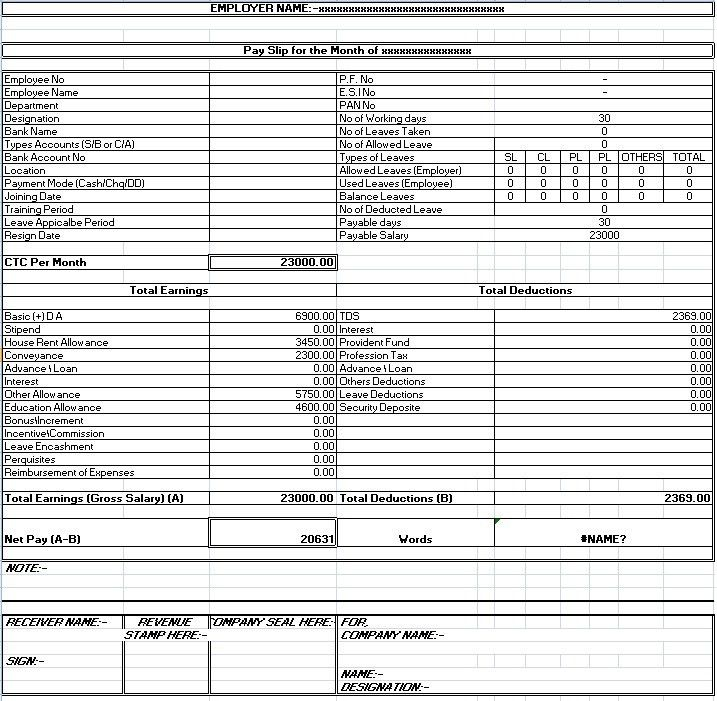 Salary Sheet Slip Format - formats, Examples in Word Excel