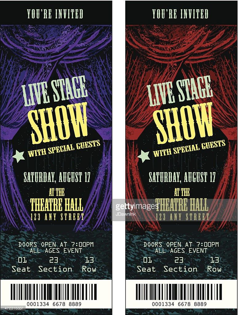 Colorful Set Of Theatre Show Ticket Templates Vector Art | Getty ...