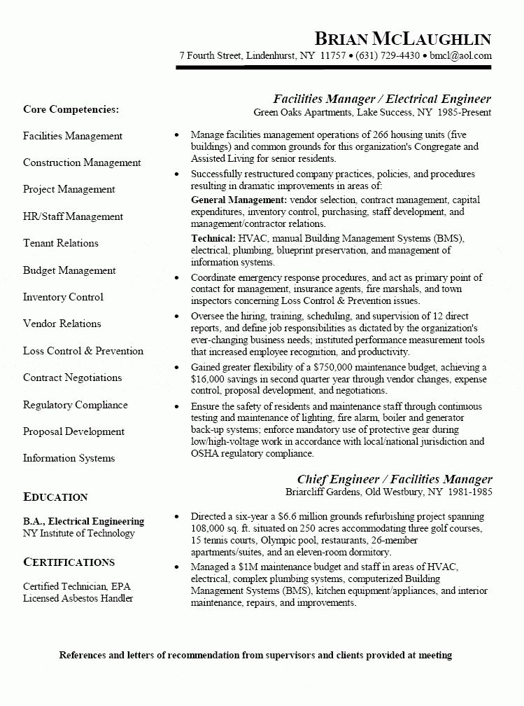 Facility Engineer Sample Resume 22 Maintenance Engineer Resume ...