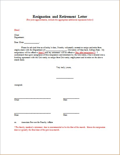 Resignation with Retirement Letter Template | Document Hub