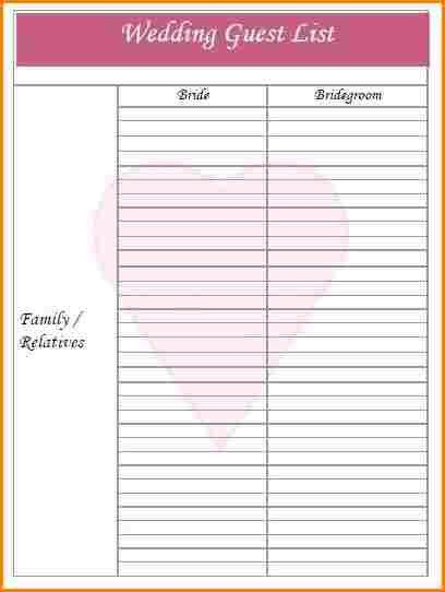 5+ wedding guest list template | wedding spreadsheet