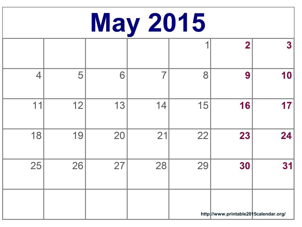May 2015 Calendar Printable Pdf, Template, Excel, Doc. Download ...