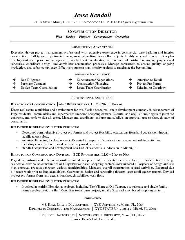 Free Director of Construction Resume Example