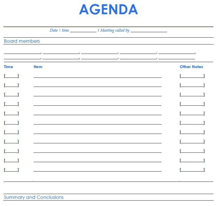 blank meeting agenda template - Template
