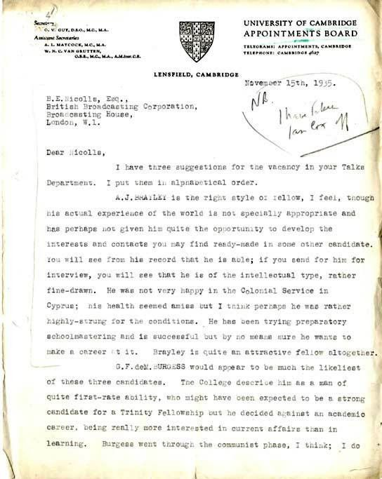 BBC - Archive - Guy Burgess at the BBC - Letter of recommendation ...