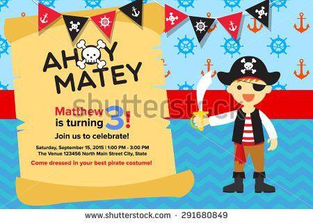 Ahoy Matey Pirate Birthday Invitation Card Stock Vector 291680870 ...