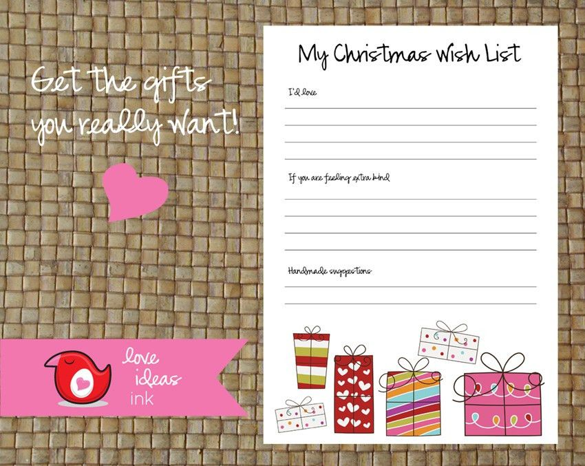 Christmas printable! Your very own wish list | A Little Bright