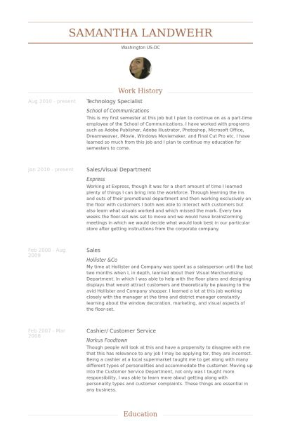 Technology Specialist Resume samples - VisualCV resume samples ...