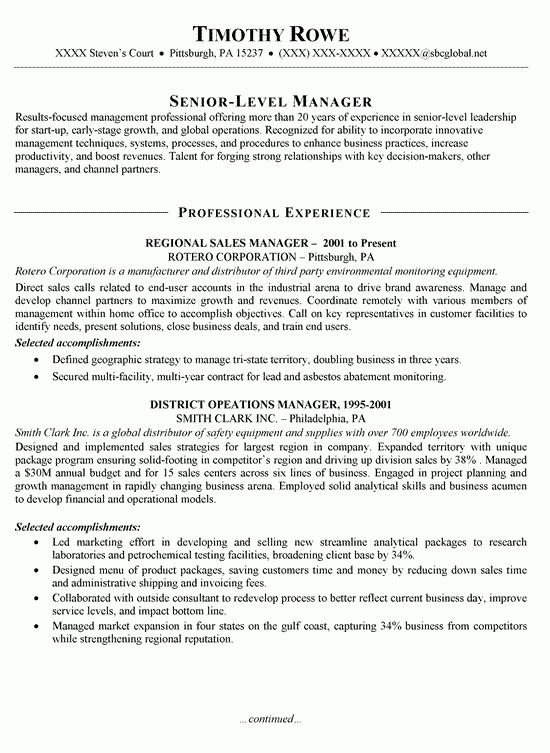 Sales Manager Resume Example | Resume examples