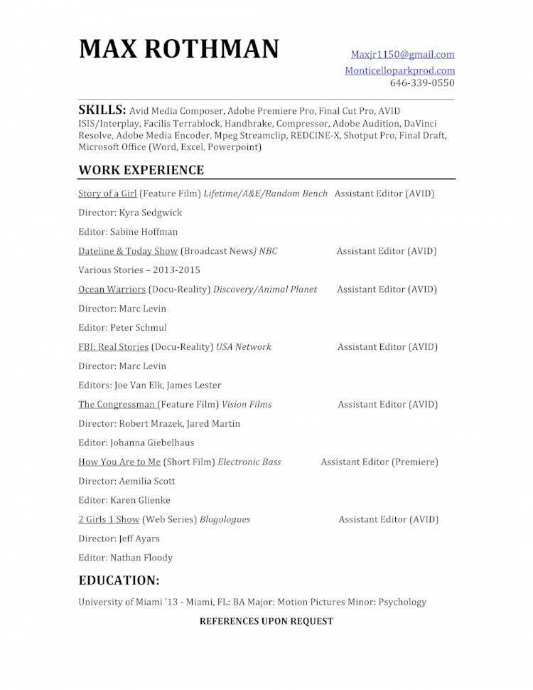 Editor Resume [Template.billybullock.us ]