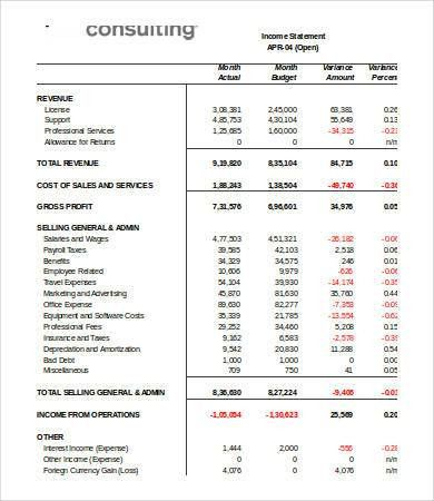 Income Statement Template Excel - 7+ Free Excel Documents Download ...