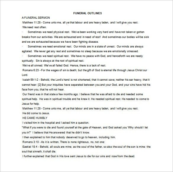 Sermon Outline Template – 10+ Free Sample, Example, Format ...