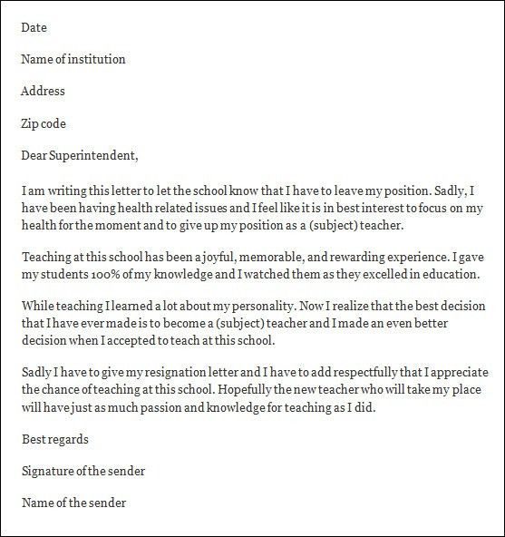 Sample School Resignation Letters. Part Time Job Resignation ...