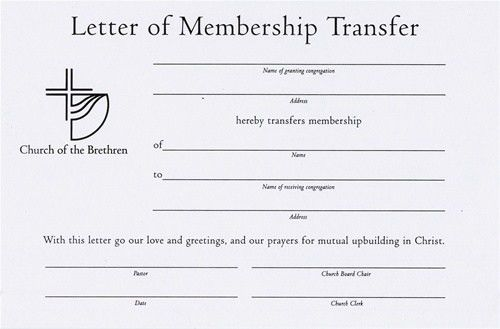 Letter of Membership Transfer Certificate