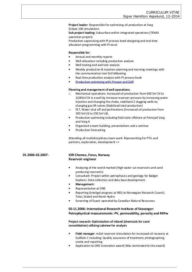 CV Sigve Hamilton Aspelund 122014, Petroleum engineering team leader