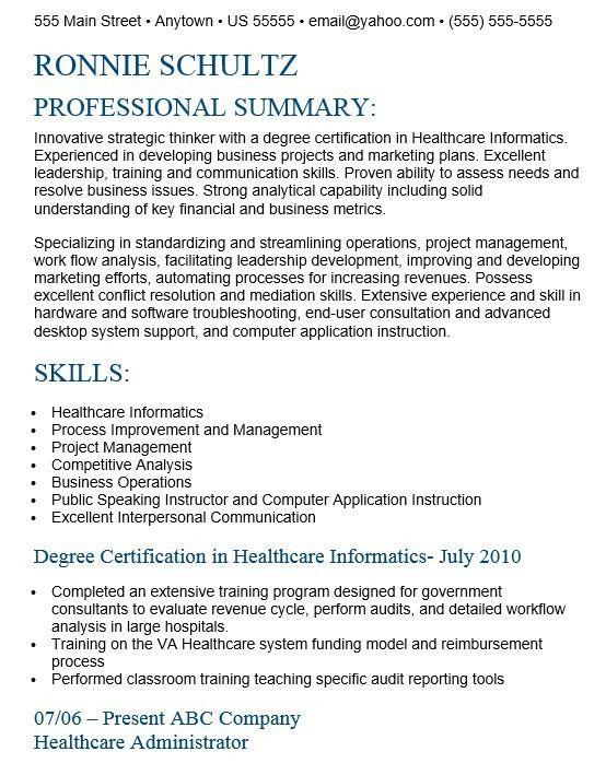Healthcare Management Resume - formats.csat.co