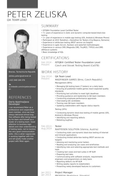 Team Lead Resume samples - VisualCV resume samples database