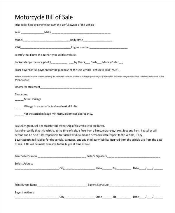Doc.#: Bill of Sale Sample Document – Basic Bill of Sale Form ...