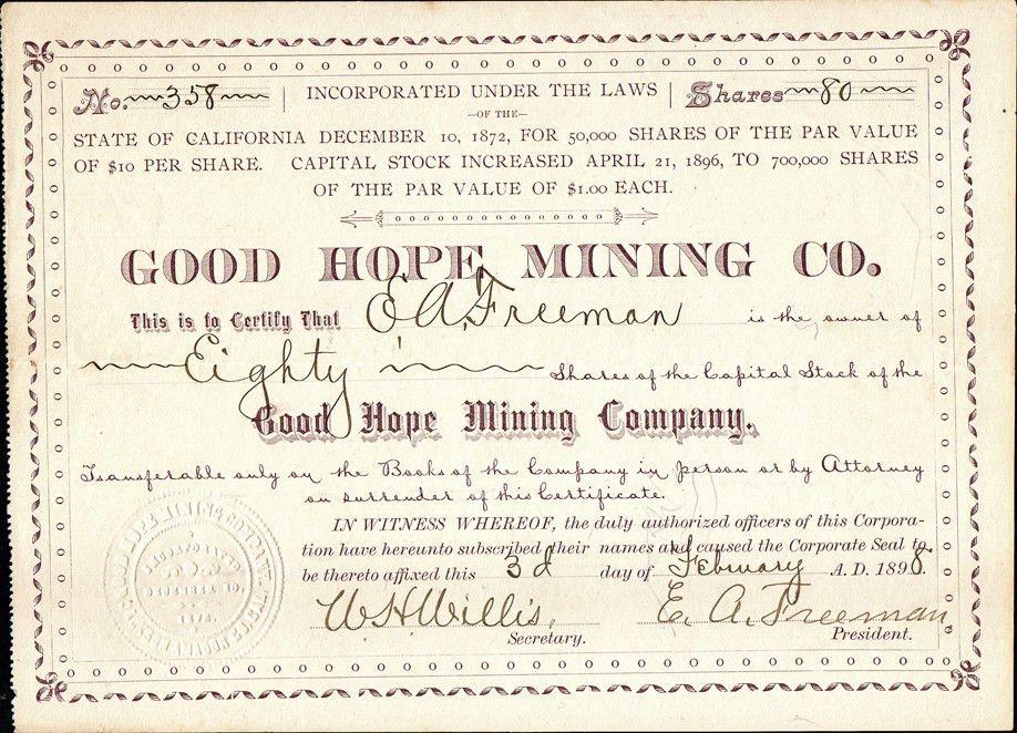 California Mining Stock Certificates