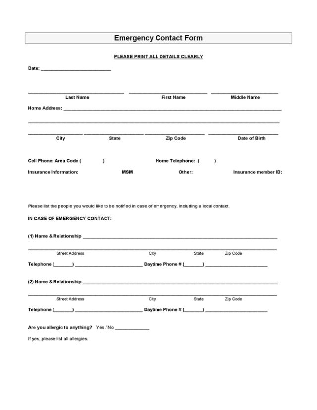Emergency Contact Form Template. standard job application with ...