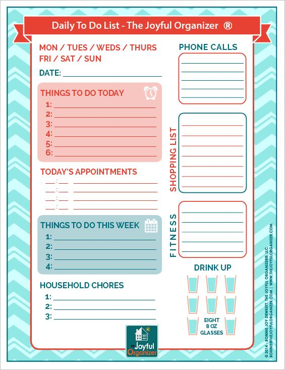 Free Printable Daily To Do List | The Joyful Organizer