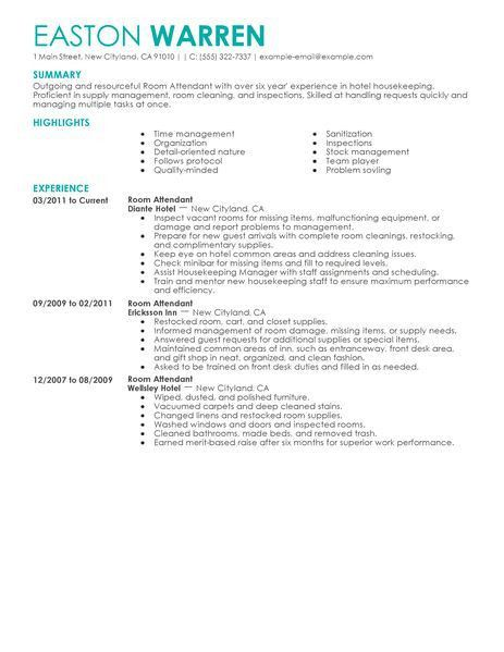 Best Room Attendant Resume Example | LiveCareer