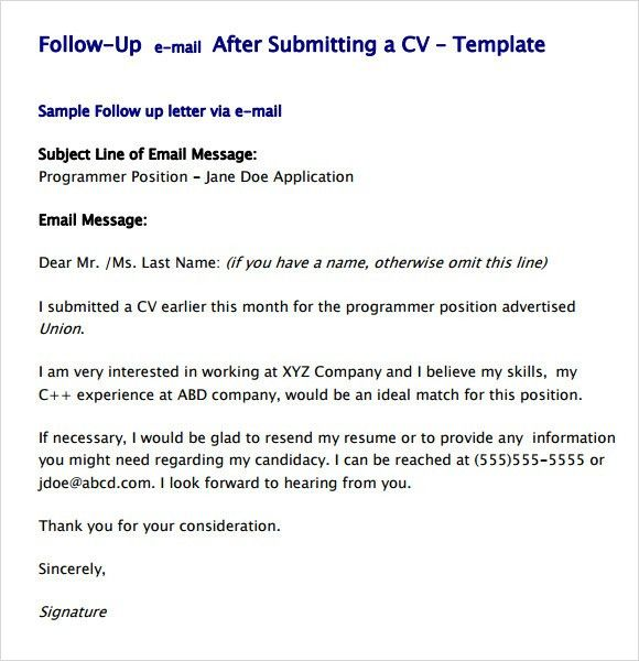 Follow Up Resume Email Sample Sample Follow Up Email 9 Follow Up