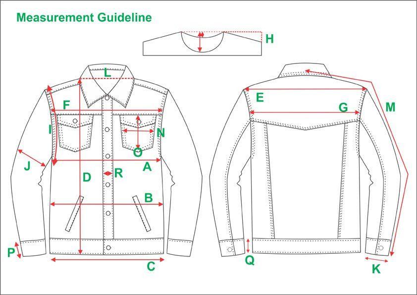 Tech Pack Template Mans Denim Jeans Jacket USA Standard Size