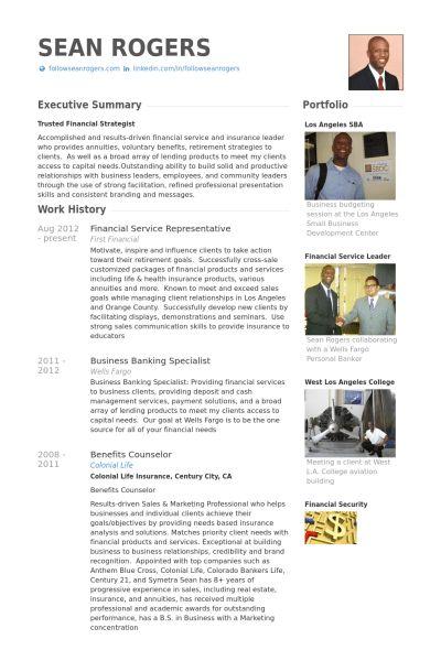 Financial Service Representative Resume samples - VisualCV resume ...