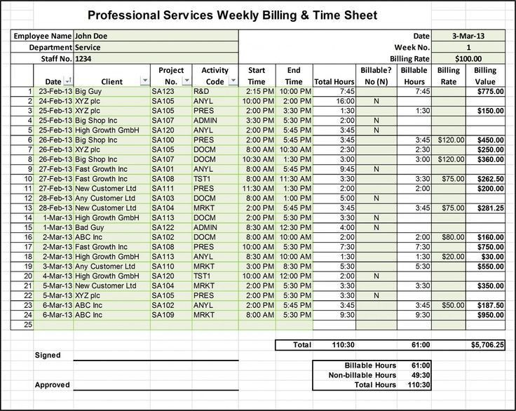 The Business Tools Store - Excel Billing Timesheet Templates for ...