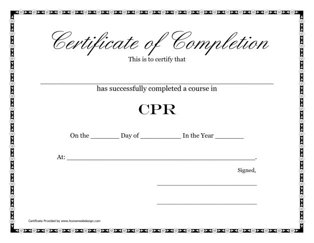 Free Printable Blank Certificate of Completion CPR Template ...