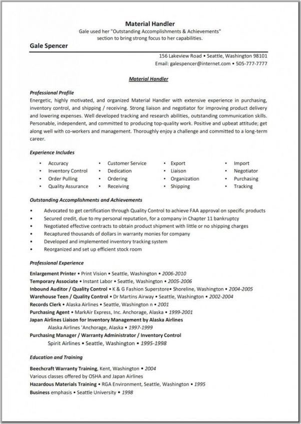 Breathtaking Material Handler Job Description For Resume 92 For ...